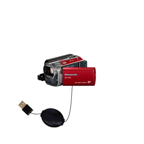 Retractable USB Power Port Ready charger cable designed for the Panasonic SDR-H100 Camcorder and uses TipExchange
