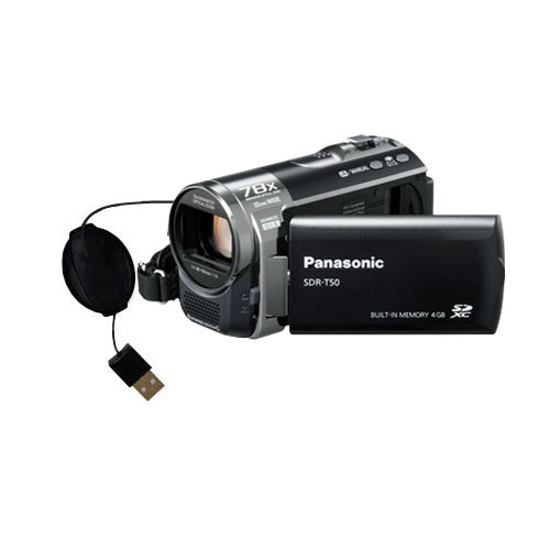 Retractable USB Power Port Ready charger cable designed for the Panasonic SDR-T50 Video Camera and uses TipExchange
