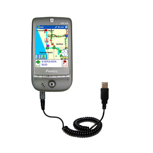 Coiled USB Cable compatible with the Pharos GPS 525E