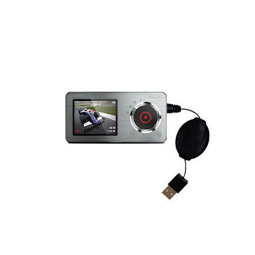 USB Power Port Ready retractable USB charge USB cable wired specifically for the Philips GoGear CAM SA2CAM08K Video Player and uses TipExchange