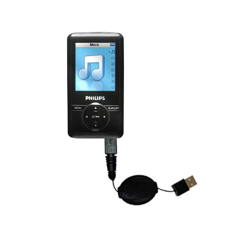 Retractable USB Power Port Ready charger cable designed for the Philips GoGear SA3125/37 and uses TipExchange
