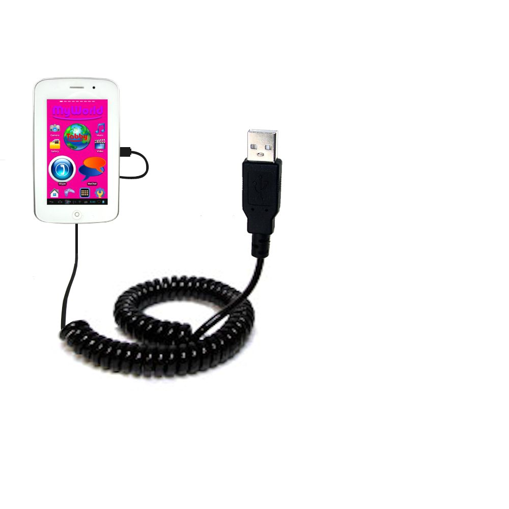 Coiled USB Cable compatible with the Playtime MyWorld 43111