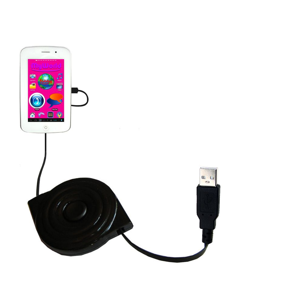 Retractable USB Power Port Ready charger cable designed for the Playtime MyWorld 43111 and uses TipExchange