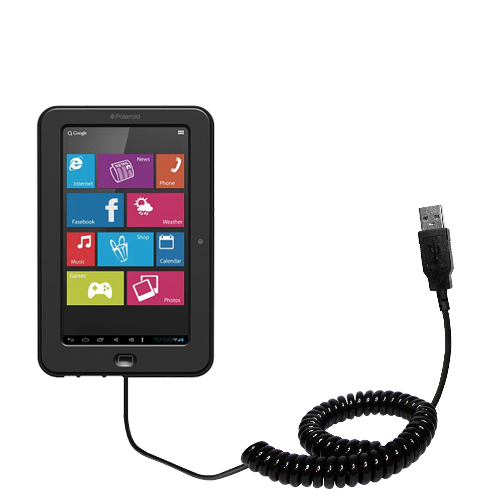 compact and retractable USB Power Port Ready charge cable designed for the Polaroid PTAB7XC and uses TipExchange