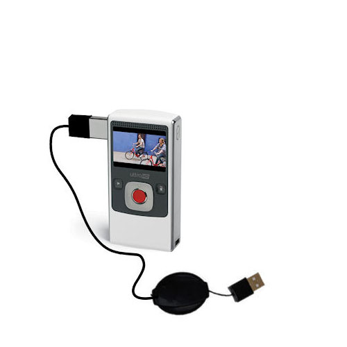 Retractable USB Power Port Ready charger cable designed for the Pure Digital Flip Video UltraHD and uses TipExchange