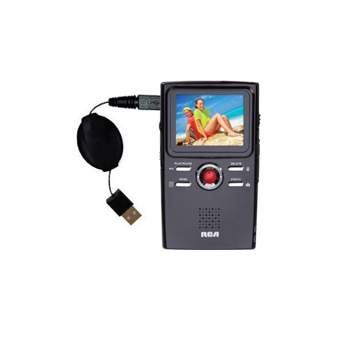 Retractable USB Power Port Ready charger cable designed for the RCA EZ2000 Small Wonder HD Camcorder and uses TipExchange