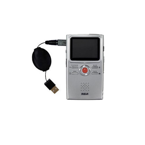 Retractable USB Power Port Ready charger cable designed for the RCA EZ3000 Small Wonder HD Camcorder and uses TipExchange