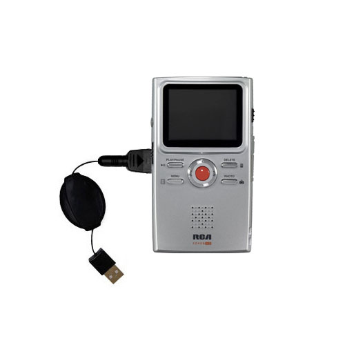 Retractable USB Power Port Ready charger cable designed for the RCA EZ409HD Small Wonder Digital Camcorders and uses TipExchange