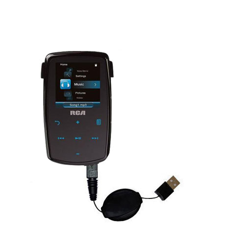 Retractable USB Power Port Ready charger cable designed for the RCA M3804 Lyra Digital Media Player and uses TipExchange