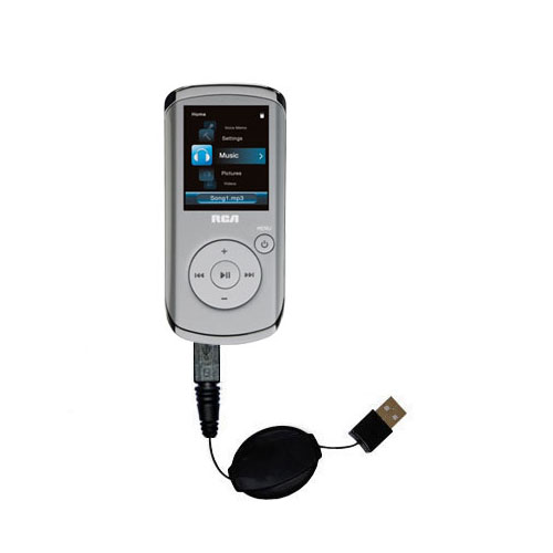 Retractable USB Power Port Ready charger cable designed for the RCA M4108 Digital Music Player and uses TipExchange