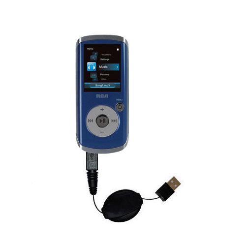 Retractable USB Power Port Ready charger cable designed for the RCA M4204 OPAL Digital Media Player and uses TipExchange