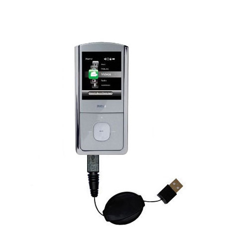Retractable USB Power Port Ready charger cable designed for the RCA M4304 Digital Music Player and uses TipExchange