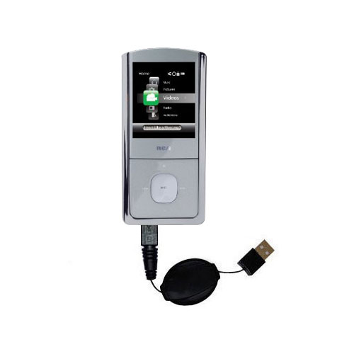 Retractable USB Power Port Ready charger cable designed for the RCA M4304 Opal Digital Media Player and uses TipExchange