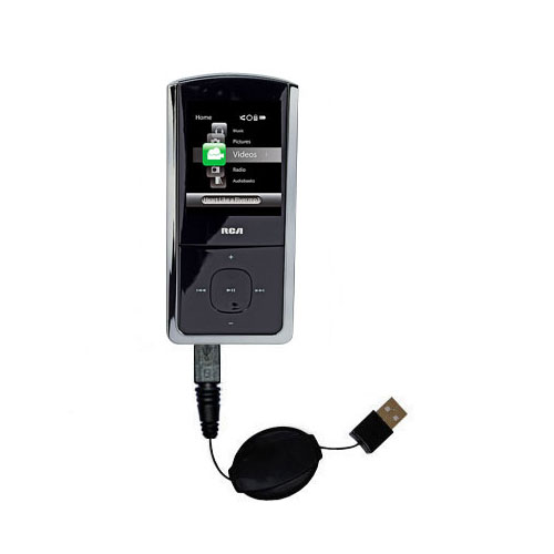 Retractable USB Power Port Ready charger cable designed for the RCA M4308 Digital Music Player and uses TipExchange