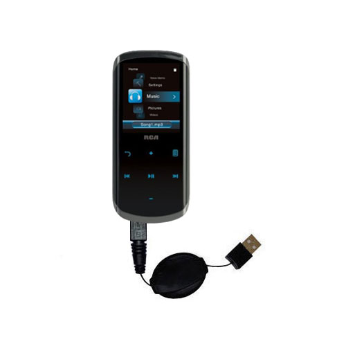 Retractable USB Power Port Ready charger cable designed for the RCA M4508 Lyra Digital Media Player and uses TipExchange