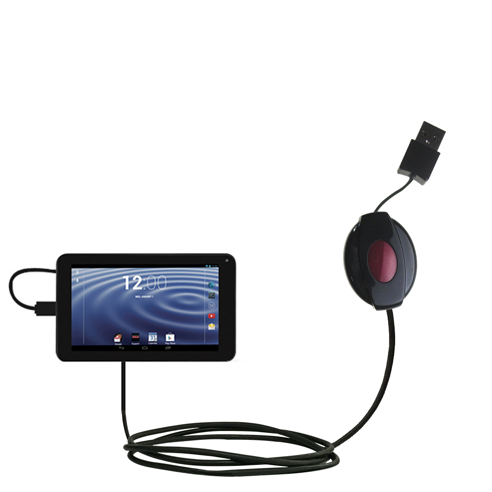 Retractable USB Power Port Ready charger cable designed for the RCA RCT6272W23 and uses TipExchange
