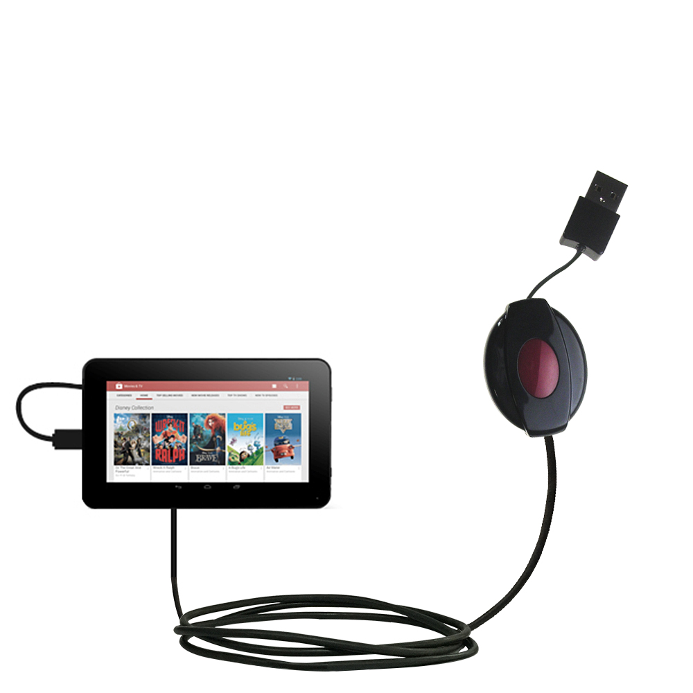 Retractable USB Power Port Ready charger cable designed for the RCA RCT6378W2 and uses TipExchange