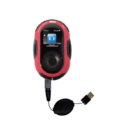 Retractable USB Power Port Ready charger cable designed for the RCA S2202 S2204 JET and uses TipExchange