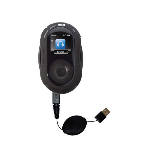 Retractable USB Power Port Ready charger cable designed for the RCA S2204 JET Digital Audio Player and uses TipExchange