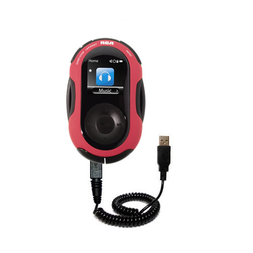 Coiled USB Cable compatible with the RCA SC2202 JET Digital Audio Player