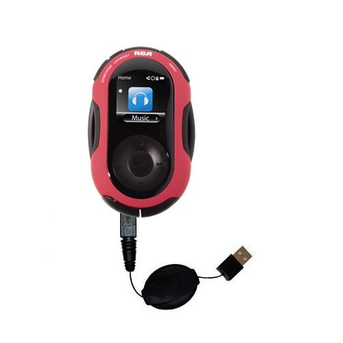 Retractable USB Power Port Ready charger cable designed for the RCA SC2202 JET Digital Audio Player and uses TipExchange