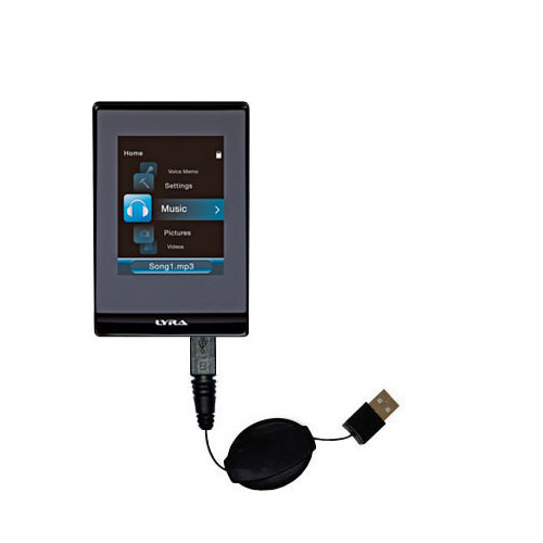 Retractable USB Power Port Ready charger cable designed for the RCA SLC5008 LYRA Slider Media Player and uses TipExchange