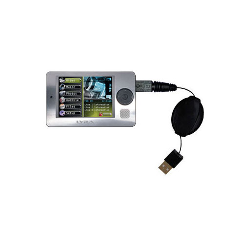 Retractable USB Power Port Ready charger cable designed for the RCA X3000 LYRA Media Player and uses TipExchange