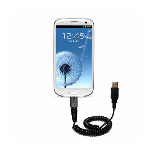 Coiled USB Cable compatible with the Samsung Galaxy S III