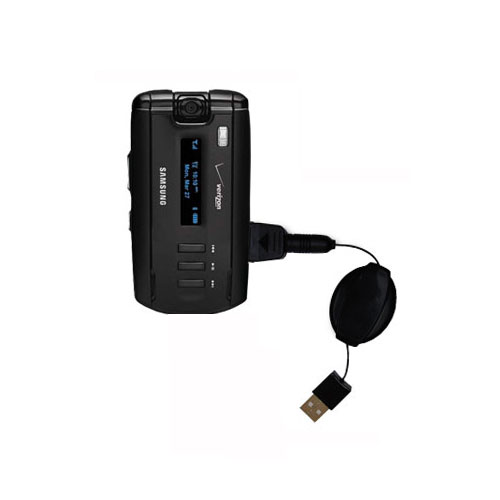 Retractable USB Power Port Ready charger cable designed for the Samsung SGH-A930 and uses TipExchange