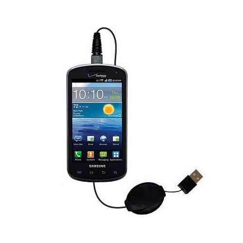 Retractable USB Power Port Ready charger cable designed for the Samsung Stratosphere and uses TipExchange