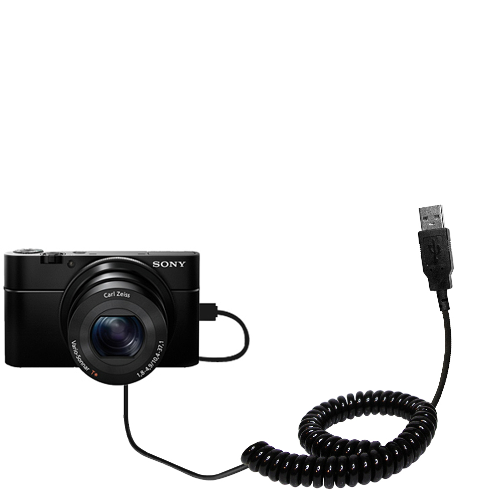 Coiled USB Cable compatible with the Sony Cybershot DSC-RX100