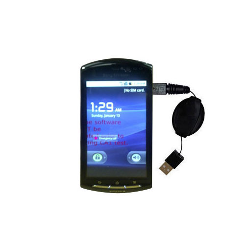 Retractable USB Power Port Ready charger cable designed for the Sony Ericsson LT15i and uses TipExchange