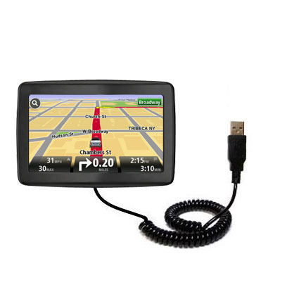 Coiled USB Cable compatible with the TomTom VIA 1500