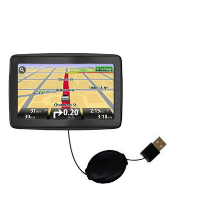 Retractable USB Power Port Ready charger cable designed for the TomTom VIA 1500 and uses TipExchange
