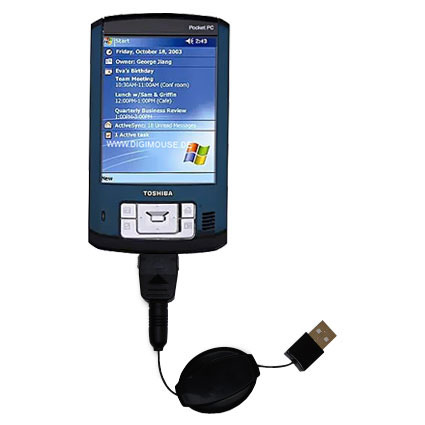 Retractable USB Power Port Ready charger cable designed for the Toshiba e805 and uses TipExchange