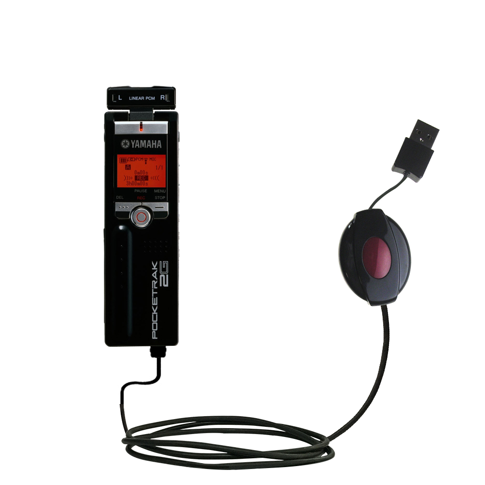 Retractable USB Power Port Ready charger cable designed for the Yamaha Pocketrak 2G and uses TipExchange
