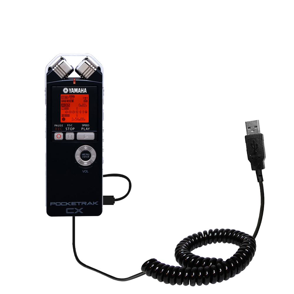 Coiled USB Cable compatible with the Yamaha Pocketrak CX
