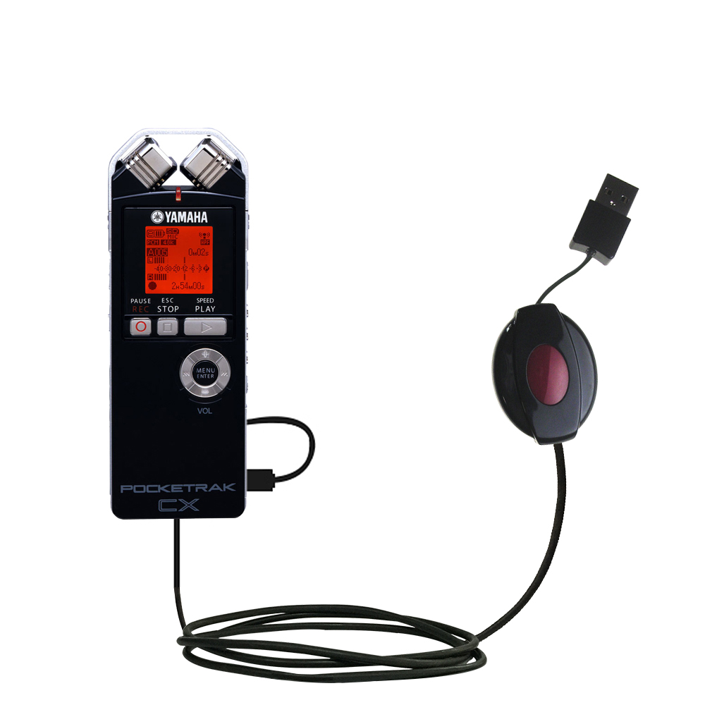 Retractable USB Power Port Ready charger cable designed for the Yamaha Pocketrak CX and uses TipExchange