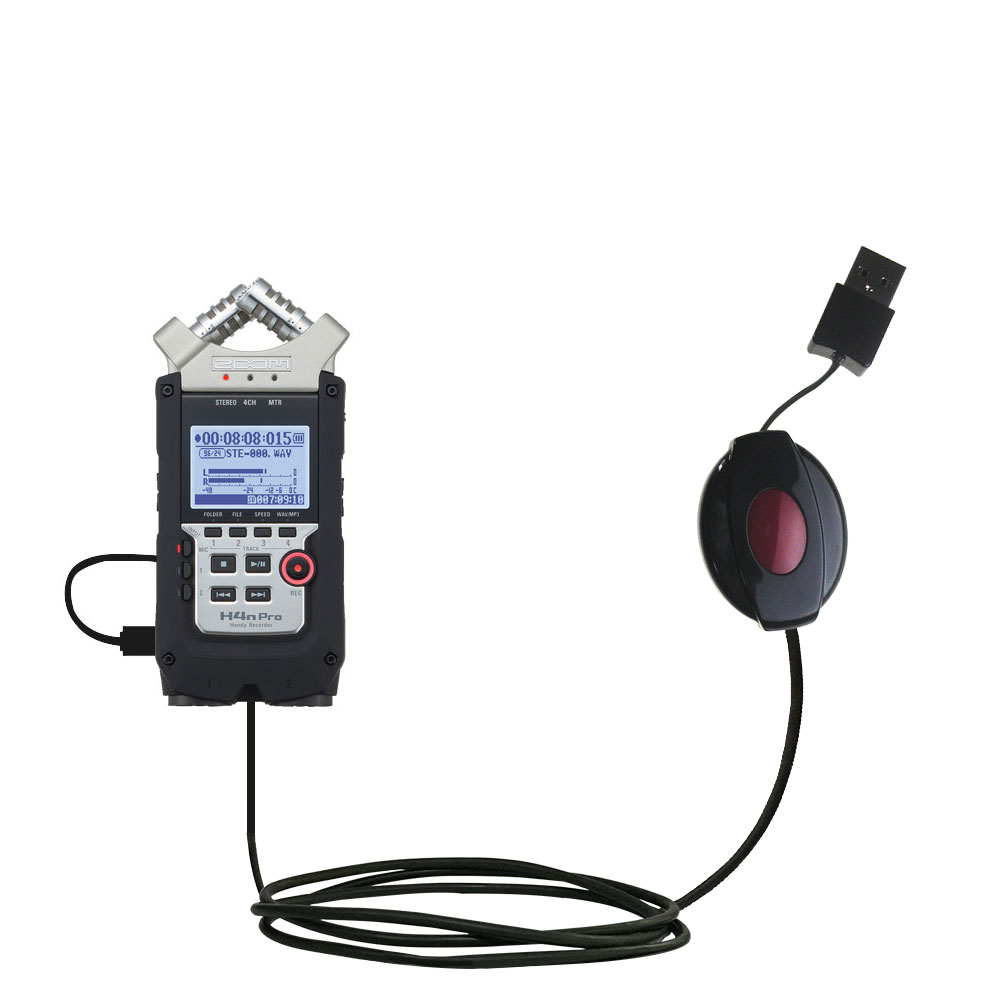 Retractable USB Power Port Ready charger cable designed for the Zoom H4N Pro and uses TipExchange