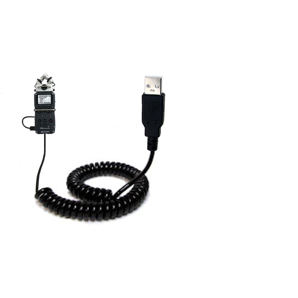 Coiled USB Cable compatible with the Zoom H5 Handy Recorder