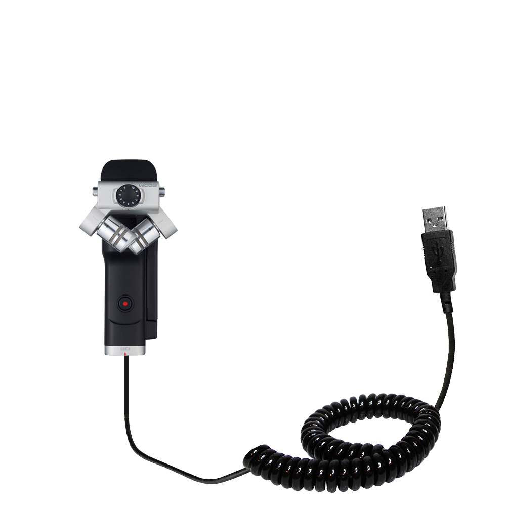 Coiled USB Cable compatible with the Zoom Q8 Handy Video Recorder