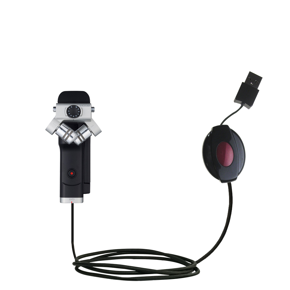 Retractable USB Power Port Ready charger cable designed for the Zoom Q8 Handy Video Recorder and uses TipExchange