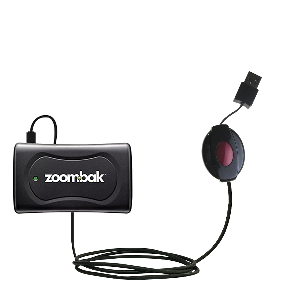 Retractable USB Power Port Ready charger cable designed for the Zoombak Advanced GPS Universal Locator and uses TipExchange