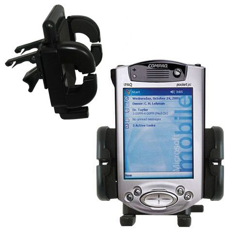 Gomadic Air Vent Clip Based Cradle Holder Car / Auto Mount suitable for the Compaq iPAQ h3700 Series - Lifetime Warranty