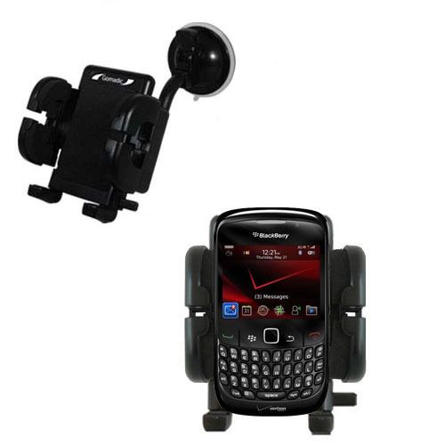 Gomadic Brand Flexible Car Auto Windshield Holder Mount designed for the Blackberry Bold 9650 - Gooseneck Suction Cup Style Cradle