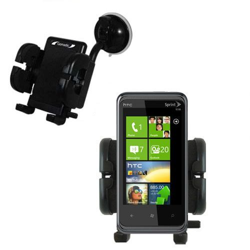 Gomadic Brand Flexible Car Auto Windshield Holder Mount designed for the HTC Eternity - Gooseneck Suction Cup Style Cradle