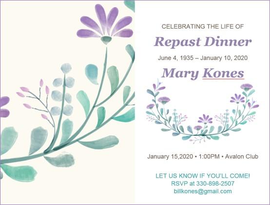 Sample Repast Invitation