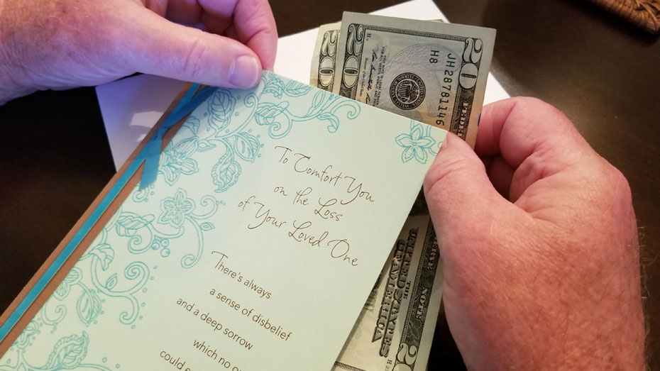 Funeral Sympathy Card - With Money
