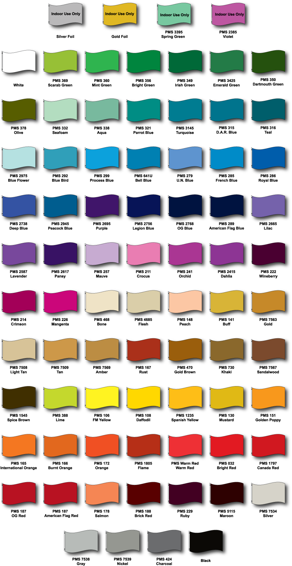 Nylon Fabric Color Chart