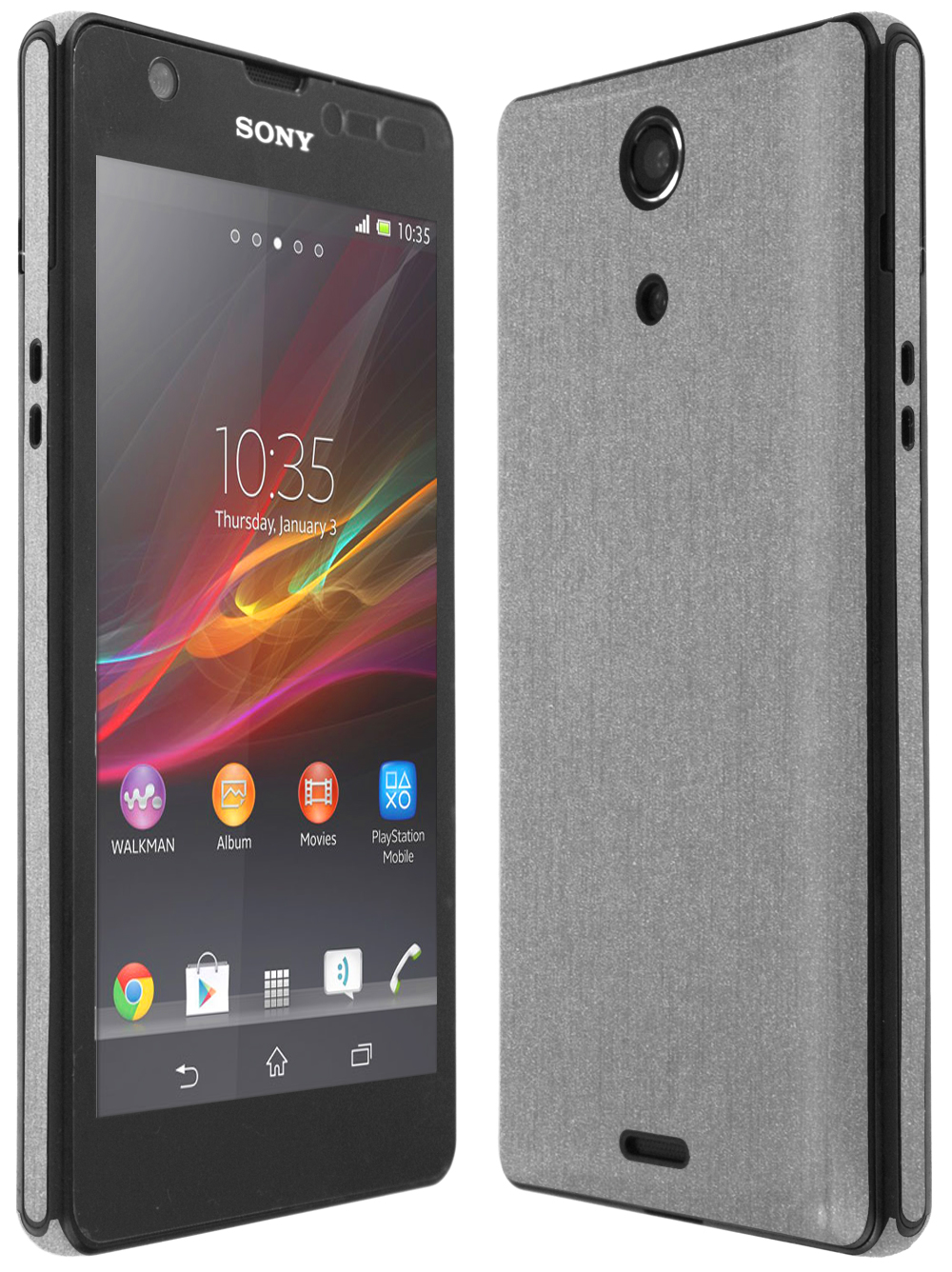 new product aa3cd 9e730 Details about Skinomi Brushed Aluminum Full Body Cover+Screen Protector for  Sony Xperia ZR